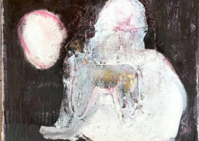 der körper als raum für wahrnehmung, Mischtechnik  auf Leinwand, 60 x 60 x 4 cm, 2019
